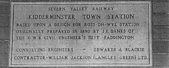 Kidderminster Station plaque